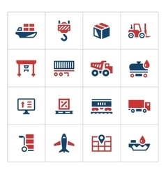 Set color icons of logistic vector