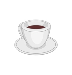 White cup of coffee icon cartoon style vector image