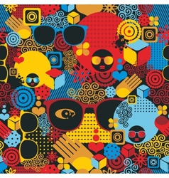 Abstract seamless pattern with black woman vector image vector image