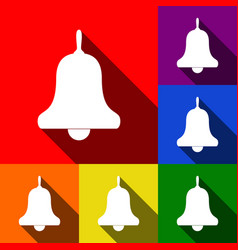 Bell alarm handbell sign set of icons vector