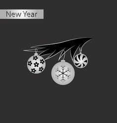 black and white style icon of christmas tree toys vector image vector image