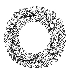 Black and white stylized drawing of laurel wreath vector