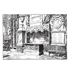 Chaucers tomb vintage vector
