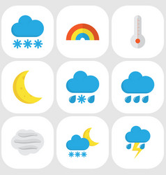 Climate flat icons set collection of snow frosty vector