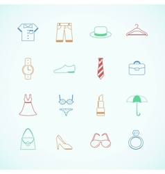 Clothes accessories pictograms vector image