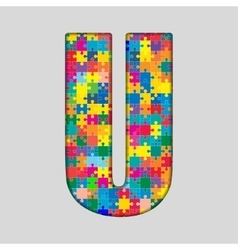 Color puzzle piece jigsaw letter - u vector