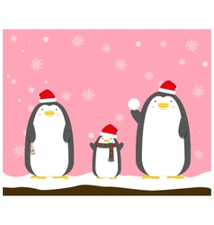 Cute big fat penguin family wear christmas hat vector