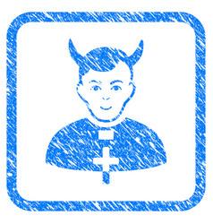 Devil priest framed stamp vector