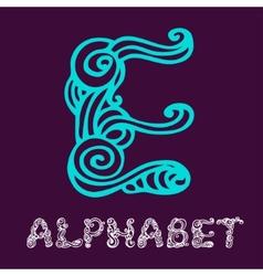 Doodle hand drawn sketch alphabet letter e vector
