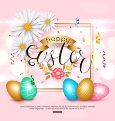 easter pink background with chamomile spring vector image vector image