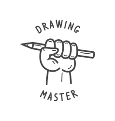 Fist holding a pencil vector