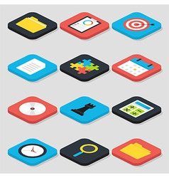 Flat Business Isometric Icons Set vector image