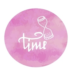 hourglass time watercolor pink spot doodle vector image vector image