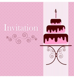 Invitation card with cake vector image
