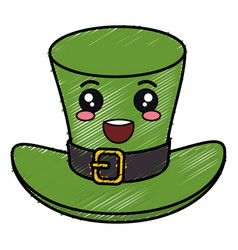 Irish elf hat saint patrick celebration kawaii vector