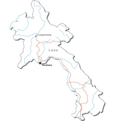 Laos Black White Map vector image vector image