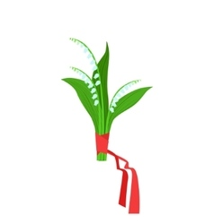 Lily of the valley flower bouquet tied with red vector