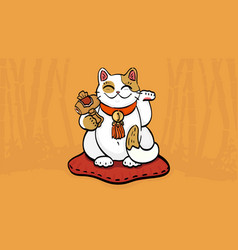 Maneki neko talisman cat beckoning wealth vector