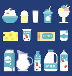 milk products cream yogurt and vector image