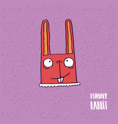 rabbit with big ears in handmade cartoon style vector image