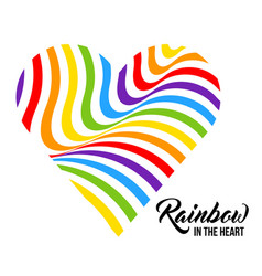 Rainbow colored heart lgbt colors vector