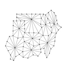 Republic of sudan map of polygonal mosaic lines vector