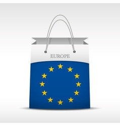 Shopping bag with flag Europe Union vector image vector image