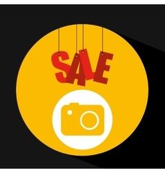 Shopping cart sale camera icon vector