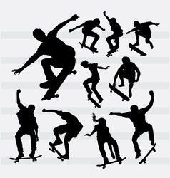 Skateboarder male and female sport silhouettes vector image