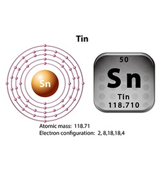 Symbol and electron diagram for Tin vector image vector image