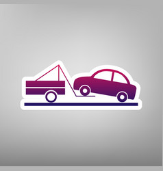 Tow truck sign purple gradient icon on vector