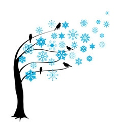 Tree in the wind winter vector