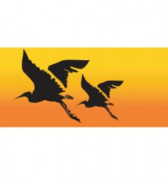 two cranes flying vector image vector image