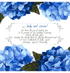 Wedding invitation with hydrangea for your design vector image vector image