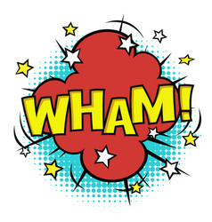 wham phrase in speech bubble comic sound bubble vector image