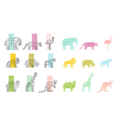 Wild animals flat polygonal icons set vector