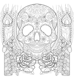 Zentangle stylized Skull with candles roses ears vector image