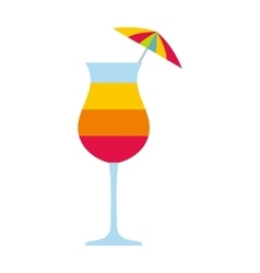 Colorful layered cocktail with umbrella icon vector