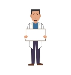 Doctor or medic with small whiteboard icon vector