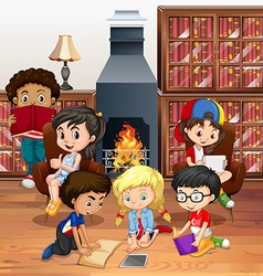 Many children reading books in the room vector