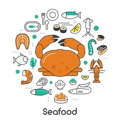 Seafood thin line icons set with fish shrimp vector