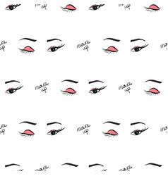 women make up beauty fashion seamless pattern eyes vector image