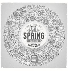 hand drawn set of spring cartoon doodle vector image