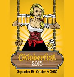 Oktoberfest poster with bavarian girl vector