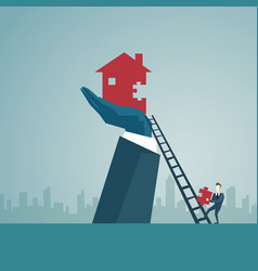 businessman climb up ladder stairs to build house vector image