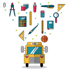 White background with school bus in closeup and vector