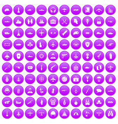 100 military resources icons set purple vector
