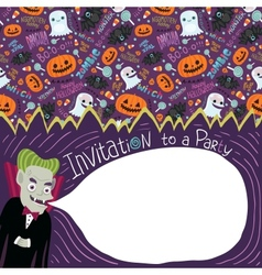 Happy halloween invitation with dracula vector