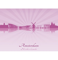 Amsterdam skyline in radiant orchid vector image