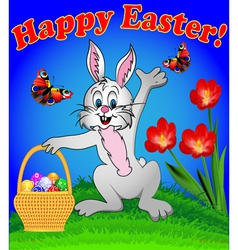 rabbit with Easter eggs vector image